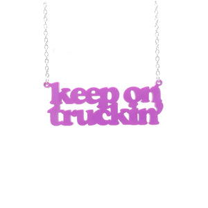 bubblegum pink Keep on Truckin' necklace hanging