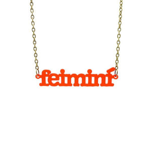 chilli red frost Irish Gaelic feimini feminist necklace