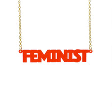 Load image into Gallery viewer, chilli frost all caps feminist necklace hanging
