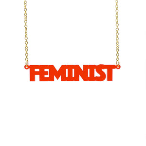 chilli frost all caps feminist necklace hanging