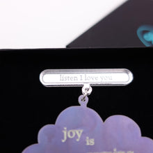Load image into Gallery viewer, close up of listen I love you on joy is coming brooch pin