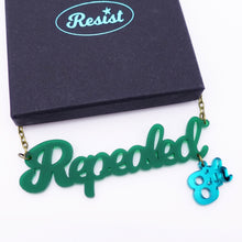 Load image into Gallery viewer, Forest green frost Repealed the 8th necklace with teal mirror 8th shown with box