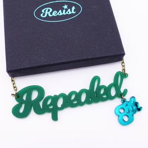 Forest green frost Repealed the 8th necklace with teal mirror 8th shown with box