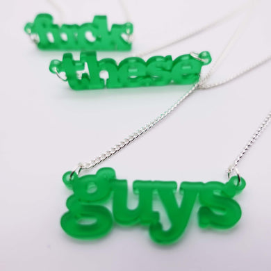 fuck these guys triple necklaces in leaf green shown close up