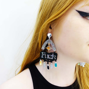 FUCK YEAH statement earrings