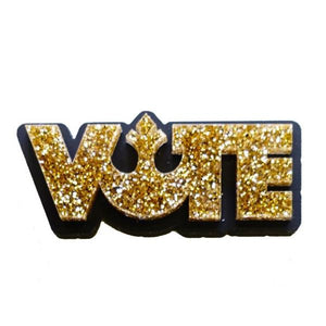 gold glitter star wars rebel alliance vote brooch