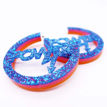 Load image into Gallery viewer, hot glitter blue Mary Beard Women & Power earrings, statement hoops