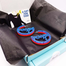 Load image into Gallery viewer, Hot glitter blue Mary Beard Women & Power earrings, statement hoops in box