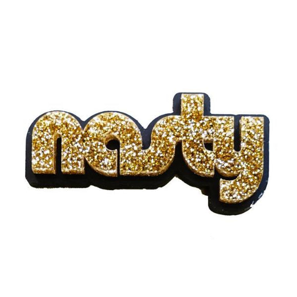 gold glitter retro disco nasty brooch