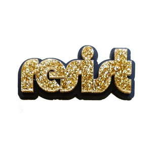 gold glitter retro disco resist brooch