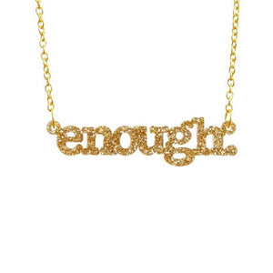 gold glitter enough necklace