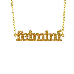 glitter gold Irish Gaelic feimini feminist necklace