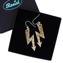 Load image into Gallery viewer, gold glitter medium high voltage earrings