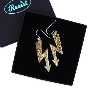 gold glitter medium high voltage earrings