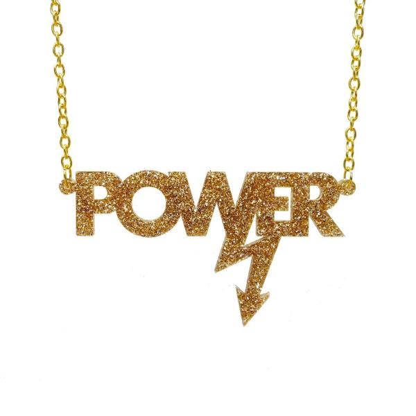 gold glitter Mary Beard power necklace