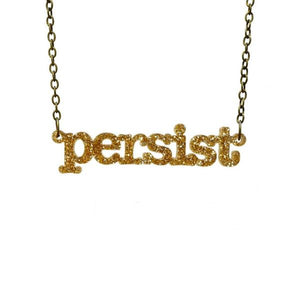 gold glitter typewriter font persist necklace