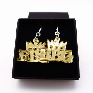 gold mirror Notorious RGB earrings in honour of Ruth Bader Ginsburg