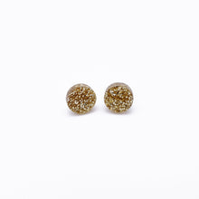 Load image into Gallery viewer, gold glitter dot earrings