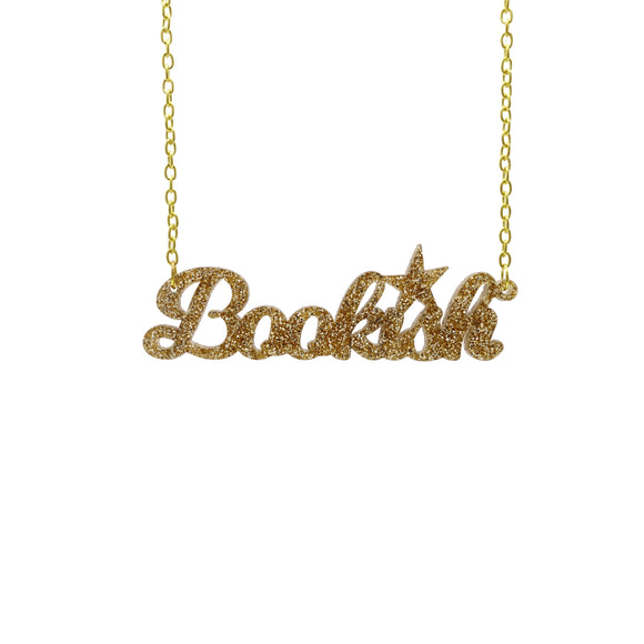 gold glitter bookish necklace