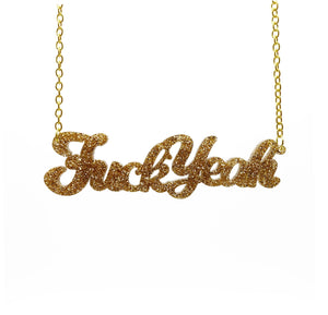 gold glitter fuck yeah necklace