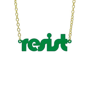 transparent emerald retro disco resist necklace