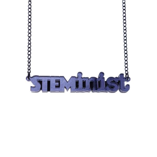slate mirror STEMinist necklace hanging shot
