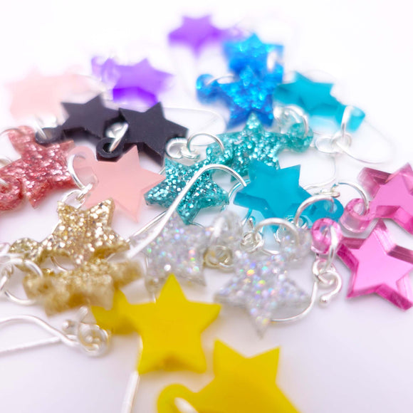 dangly small star earrings