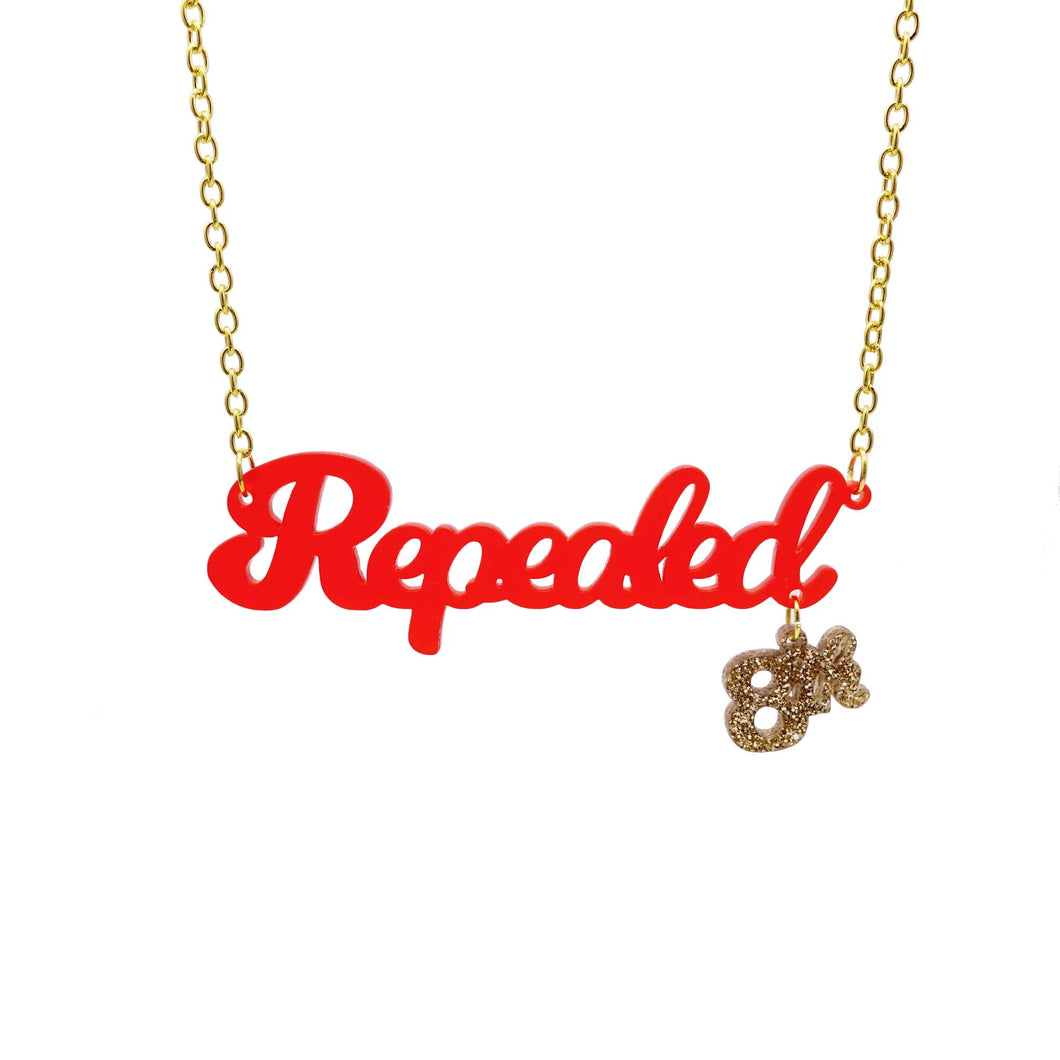 Hanging Repealed the 8th chilli frost red necklace with gold 8th