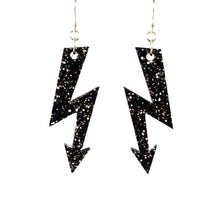 Load image into Gallery viewer, black glitter medium high voltage earrings