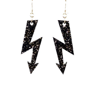 black glitter medium high voltage earrings