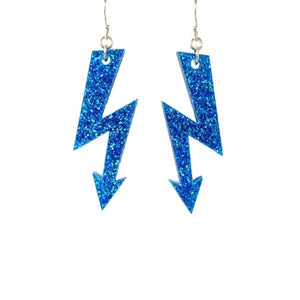 blue glitter medium high voltage earrings