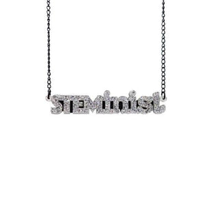 holographic silver glitter STEMinist necklace hanging shot