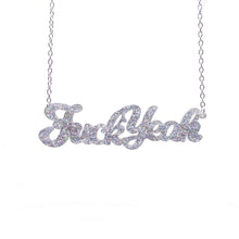 Load image into Gallery viewer, holographic silver glitter fuck yeah necklace