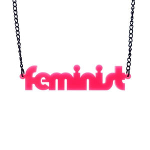 hot pink retro disco font feminist necklace