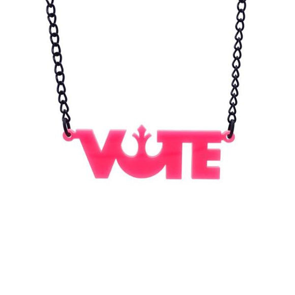 hot pink Star Wars Rebel Alliance vote necklace