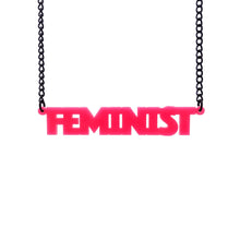 Load image into Gallery viewer, hot pink all caps feminist necklace hanging