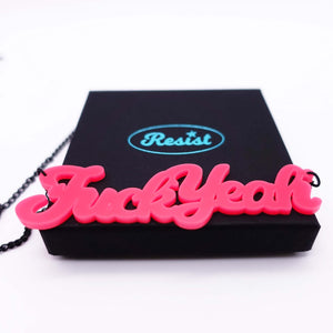 close up of hot pink fuck yeah necklace