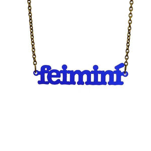 indigo blue frost Irish Gaelic feimini feminist necklace