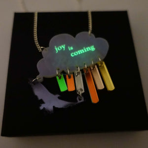 Joy is coming necklace in sunshower colours glowing