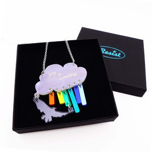 Joy is coming necklace in rainbow colours