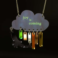 Load image into Gallery viewer, Joy is coming necklace in sunshower colours beginning to glow