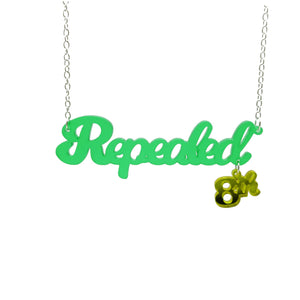 Leaf green frost Repealed the 8th necklace with yellow mirror 8th