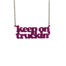 Load image into Gallery viewer, maroon Keep on Truckin' necklace hanging