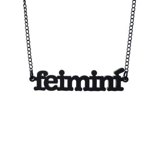 iridescent Irish Gaelic feimini feminist necklace