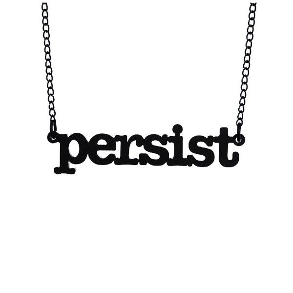 matte black typewriter font persist necklace