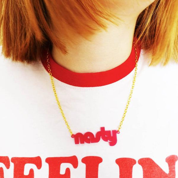 model wears chilli red frost retro disco nasty necklace for nasty women