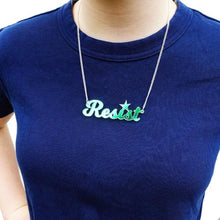 Load image into Gallery viewer, iridescent script resist necklace