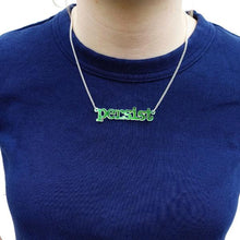 Load image into Gallery viewer, model wears iridescent typewriter font persist necklace