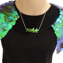 Load image into Gallery viewer, iridescent retro disco resist necklace