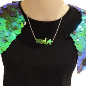 iridescent retro disco resist necklace